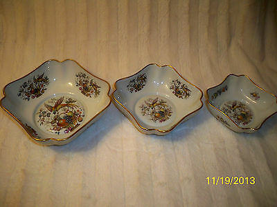 3 RARE Set Limoges Nesting Bowls Gold Gilt Bird Fruit Vintage Rare all 3 FRANCE