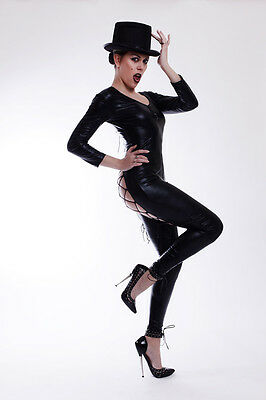 Lycra Catsuit in Lack/Latex look mit dem Hut / Sexy lycra Catsuit with a hat