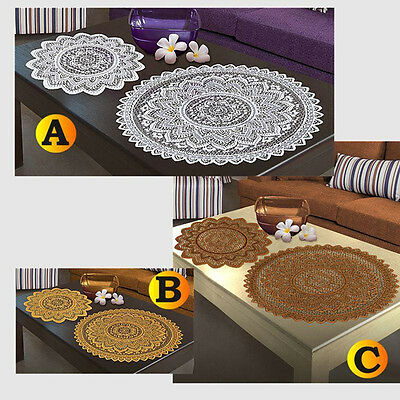 SINGLE Doilie Doily Table Centre Mat Lace White Brown or Antique Gold Round