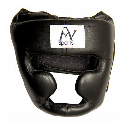 Genuine Leather Head Guard Helmet Gear Boxing Martial Arts Protector Punch Mma