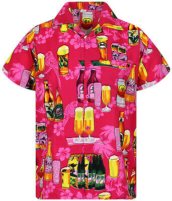 Hawaiian Shirt for Men Funky Casual Button Down Very Loud Shortsleeve Unisex Parrot Beerbottle
