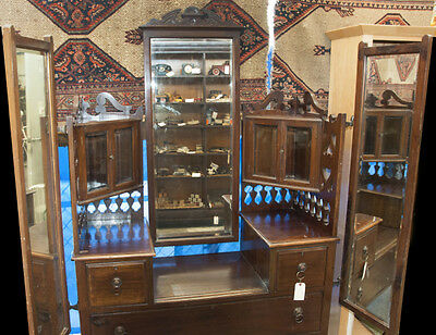 Dismantled Victorian Vanity - Beveled Glass Mirrors, Glass Cases with Shelves
