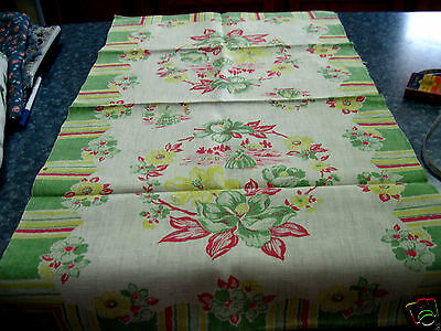 "VINTAGE LINEN GREEN,PINK & YELLOW TABLE RUNNER""PRETTY LADIES"" 29X18  AWESOME E"