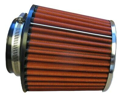 "Performance High Flow Cone Air Filter (114mm) 4.5"" Inch Neck Diameter RED/CHROME"