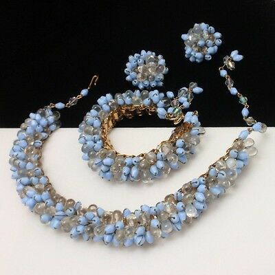 Vintage Set Necklace Bracelet Earrings Blue & Clear Tiny Wired Flower Buds