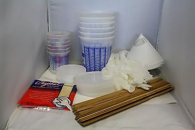 61 piece kit: mixing cups lids strainers sticks filters tack cloth gloves