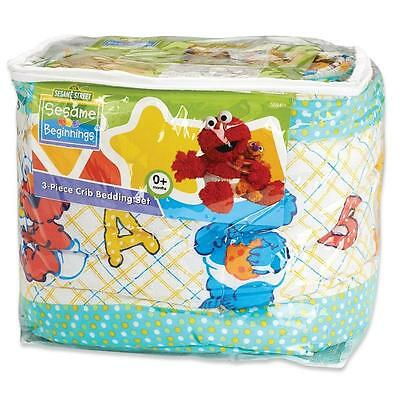 Baby Shower Sesame Street 3pc Crib Bedding Set, Elmo, Big Bird,Cookie Monster
