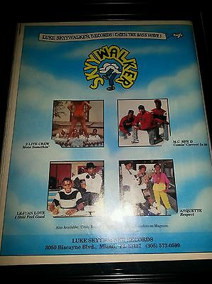 Skywalker Records 2 Live Crew MC Shy D Rare Original Promo Poster Ad Framed!