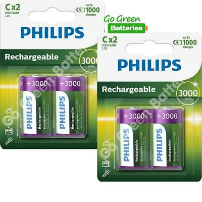 4 x Philips C Size 3000 mAh Rechargeable Batteries LR14 HR14 BABY NiMH