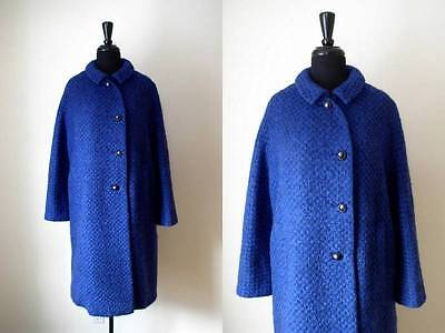 VTG 1950s 50s BLACK & BLUE BOUCLE MOHAIR WOOL TWEED COAT w/ MOONGLOW BUTTONS