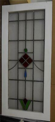 """LARGE OLD ENGLISH LEADED STAINED GLASS WINDOW Geometric Abstract 19"""" x 42.5"""""""