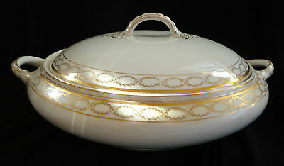 Antique Alfred Meakin Round Serving Dish with Lid & Handles, made in England