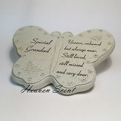 Memorial For Special Grandad Butterfly Shaped Grave Ornament Funeral Tribute