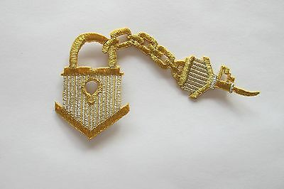 #2208 Gold,Silver Trim Fringe,Lock,Key,Bird House Embroidery Applique Patch