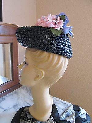 Vintage Black -1930s-1940s Asymetrical Hat with Large Blue / Pink Flowers-sz 23