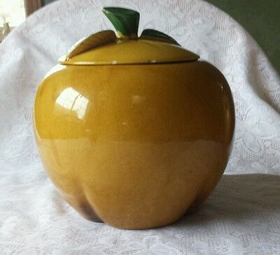 Large Ceramic Hand painted Yellow Golden Delicious Apple Cookie Jar