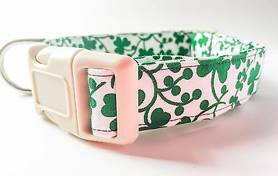 Green Clover Dog Collar with bandana option, Cotton, Handmade, Soft, Washable