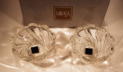 """Set of 2 Mikasa Peppermint Frost Candle Holders - 2.5"""" - NIB - Made In Germany"""