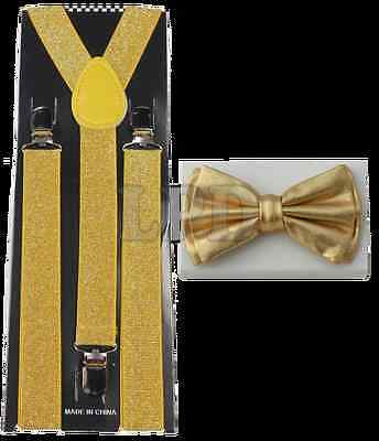 2acb683f3ff Gold Glitter Suspenders   Gold Metallic Finish Shiny Bow Tie Set Classic  Combo