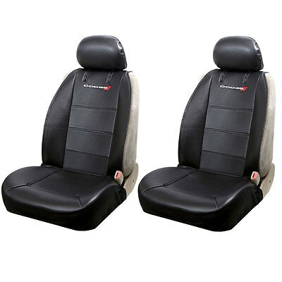 Brand New Set of 2 Dodge Logo Sideless Side Less Car Truck Front Seat Covers