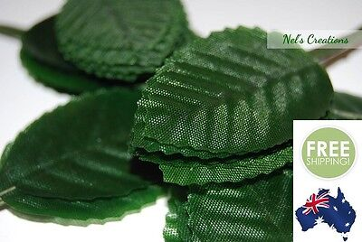 100 x green poly satin leaves, floral florist craft supply, 11cm, scrapbook, diy