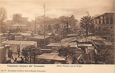 Valparaiso, Chile, 1906 Earthquake Ruins, Plaza Victoria & El Teatro, People