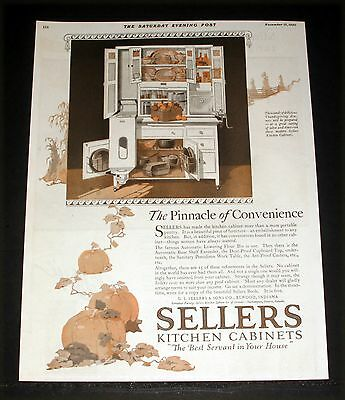 1920 Old Magazine Print Ad, Sellers Kitchen Cabinet, A Pinnacle Of Convenience!
