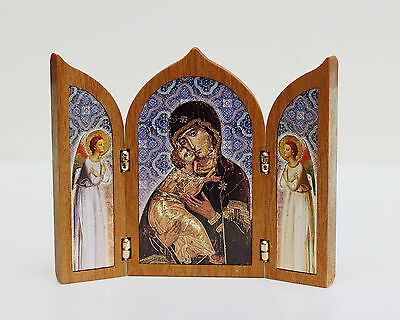 Tabletop Triptych Travel Shrine Virgin Mary OUR LADY OF VLADIMIR  Made in Italy