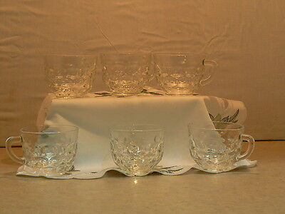 Lovely Set of Six Antique/Vintage Federal? Clear GlassThumbprint Punch Bowl Cups