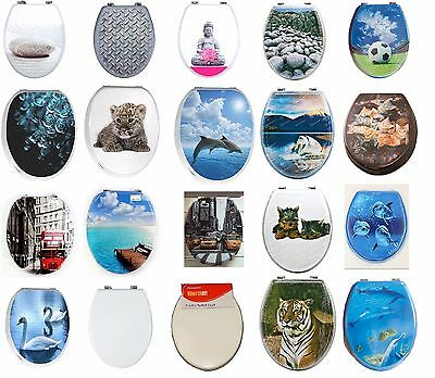 Toilet Seat Novelty Design Strong Silver Hinges Printed MDF / Plastic / Wood New