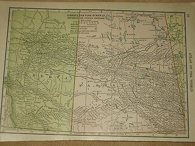 1912 Hammond  Antique MAP ALBERTA & SASKATCHEWAN    FREE SHIPPING