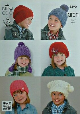KNITTING PATTERN Childrens 6 Hats Beanie Bobble Beret Slouch Aran King Cole 3390