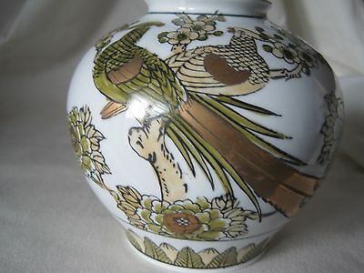 Vintage Gold Imari Vase With Peacocks 2150 Picclick