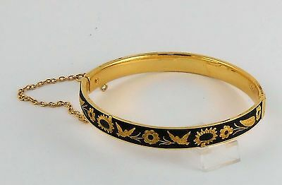 Estate Lovely Toledo Ware Black Gold Color Bangle Bracelet Clasp w/ Safety Chain