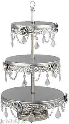 3-Tier Dessert Cake Stand Serving Silver Cupcake Vintage Wedding Buffet  Pastry