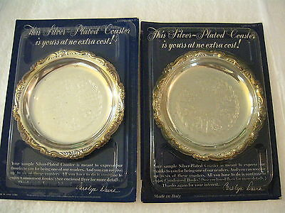 VINTAGE NEW SET OF 2 SILVER PLATED COASTERS READERS DIGEST PLEASANTVILLE NY
