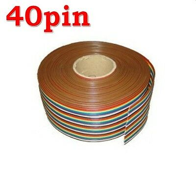 3 M of 40 WAY Flat Rainbow Color Ribbon Cable wire Rainbow Cable IDC NEW
