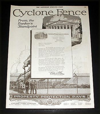 1920 Old Magazine Print Ad, Cyclone Fence Company, Property Protection Pays!