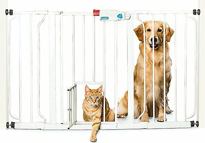 Carlson 44-Inch Extra Wide Walk Through Gate with Pet Door, 29 to 44-Inch NEW