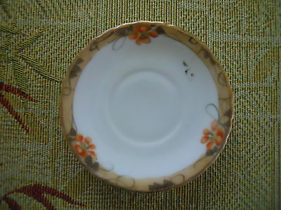 Hand painted saucer, Gold along the edges with orange flowers ~ Pretty!