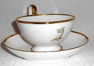 ANTIQUE SEVRES FINE PORCELAIN ARMORIAL LARGE GILDED CUP & SAUCER DATED 1836