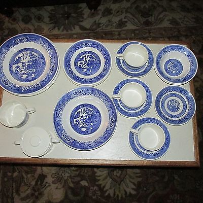 Lot of 20 Pieces Vintage Blue Willow Ware by Royal China Royal-Ironstone USA