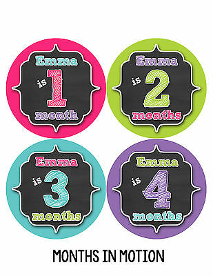 Personalized Baby Girl Monthly Stickers Custom Baby Name Month Sticker #494