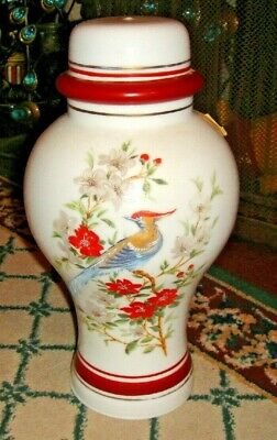 Superb Vintage Glass Lampshade-Painted Birds & Flowers-Bulbous Shape-Large-LQQK