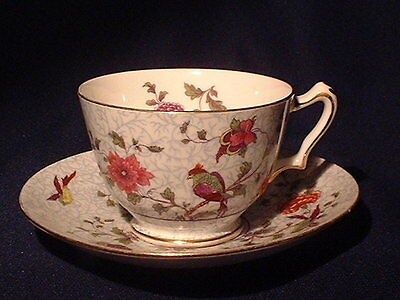 Antique Crown Staffordshire Cup & Saucer Bird Of Paradise Pattern Circa 1911