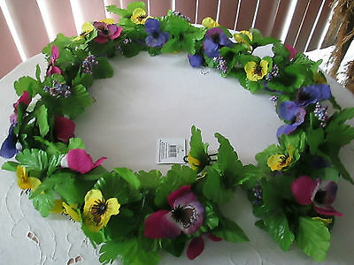 5 Ft.Silk Flower MultiColor Pansy Floral Garland, New Great for Easter & Spring