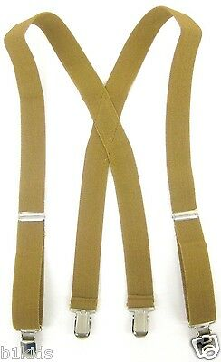 Boys Toddlers Kids Children Khaki X Back Suspenders Clip On adjustable New With