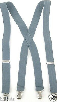 New Suspenders Boys Toddlers Kids Children Gray X Back  Clip On adjustable NWT