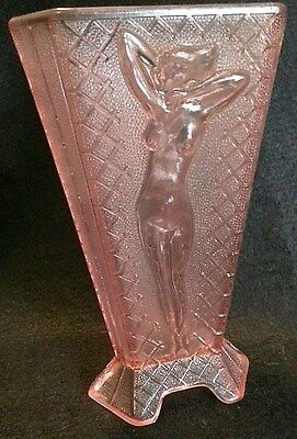 "VERY RARE MCKEE PINK DEPRESSION GLASS ART NUDE 3-SIDED DECO ""NUDES"" VASE 7 1/2"""