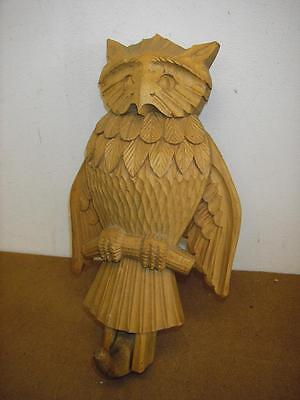 REALLY OLD treen carved wood OWL  HOOK